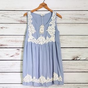 Entro Lace Chambray Trimmed Baby Doll Dress